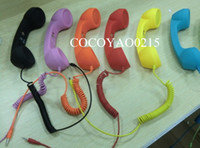 Wholesale 50pcs MIC mm Retro POP Phone Telephone Handset for iPhone iPad mobile phone color