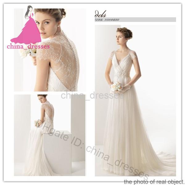 Beach Wedding Dresses 2014 Evening Gowns Sheer Applique White V ...