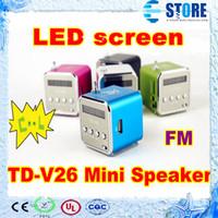 Wholesale Portable Mini Speaker TD V26 Cube Support FM Radio Mini Digital With LED Screen wu