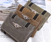 Wholesale Hot sale sports Army Canvas vintage Wallet Men s Pockets Card Clutch Cente Mility Zipper Bifold Purse for men