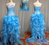 Wholesale In Stock Sky Blue Sparkling Prom Dresses Tiered Hi lo Accent Beaded Sweetheart Lace Up Wedding Party Gowns