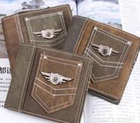 Wholesale Cheap Bifold Wallets - New Vintage punk Army Canvas Wallet Men's Pockets Card Clutch Cente Mility Zipper Bifold Purse cheap wholesale