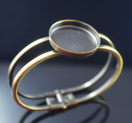 Free shipping, green bronze 25 mm round bangle bracelet blank chassis bezel set cabochon jewelry accessories
