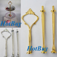 Wholesale 3 Tier Cake Plate Stand Handle Fitting Gold Wedding Party Crown Rod