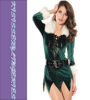 Wholesale Low Price N7203 Popular Sexy Elf Dress with Deluxe Swan Feathers Christmas Lingerie Costume New