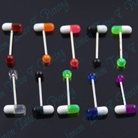 Other Body Jewelry Fashion Free Shipping 100pcs LOT Mixed Colors PILL MEDS DRUGS BLING BARBELL TONGUE NIPPLE PIERCING STUD RAVE EMO KITSCH UV