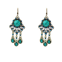 Wholesale Hot Bohemian Exotic Earrings Vintage Hollowed Flower Chandelier Water Drop Earrings E037