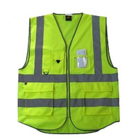 Wholesale New High Visibility Safety Vest with Zipper Reflective Tape Strips Pockets