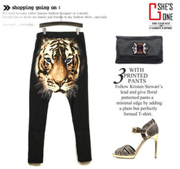 Wholesale 2014 New Harajuku style Fashion Printing Domineering Tiger head Hip hop Harem Pants casual hanging crotch Pants Loose Collapse Pants