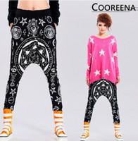 Wholesale New Harajuku style Fashion Pentagram Hexagram Skull Religion Geometry Hip hop Harem Pants casual hanging crotch Pants Loose Collapse Pants