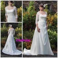 Wholesale A Line Ivory Satin Court Train Beaded Applique Square Neckline Long Sleeve Plus Size Wedding Dresses Bridal Dress Gown Fast Delivery