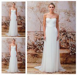 Wholesale Una línea vestidos de boda escarpados largos de la playa del amor Vintage Monique Lhuillier Baile de fin de curso nupcial de la gasa de la gasa de la caída