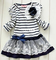TuTu Summer A-Line Baby Girls Striped Lace Dress Long Sleeve Flower Princess Dresses Blue and Brown Children Spring Autumn Clothing with Bow tz26 Free Shipping