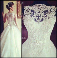 2014 sleeveless lace wedding dresses with high neck and shee...