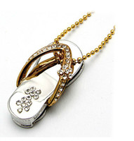 Wholesale Full capacity GB GUSB2 Memory Stick Flash Drive with personality design Metal Crystal slipper USB