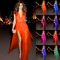 Wholesale In Stock Chiffon Evening Dresses Sexy Formal Gowns Sleevelesss Prom Dresses V Neckline Side Slit F23