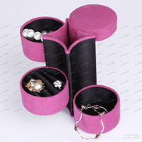 Wholesale LLFA3507 High grade Small Jewellery Box Jewelry Round Case Stand Holder colors