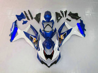 Wholesale Free gift for all the bolts and screws Complete fairing kit for GSXR K8 GSXR600 with tank cover Blue White