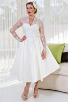 Wholesale Plus Size Sheer Garden V Neck Wedding Dresses With Long Sleeves Tulle Stain Ball Gowns Lace Appliques Short Tea Length Bridal Dress