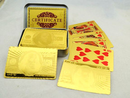 Free shipping 24K Gold Plated Poker Playing Card With Tin Box , Novelty Nice Gift for Christmas