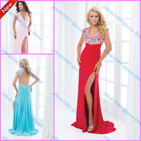 Reference Images V-Neck Chiffon Bestselling Sexy2014 V-neck Short Sleeves Crystal Beaded Bodice Front-slit Corset Backless Column Prom Dresses Evening Wedding Party Gowns