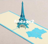 Wholesale Creative Valentine stereoscopic D Eiffel Tower New Year Birthday Greeting Card DIY handmade paper art paper cut model