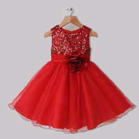 Girl kids clothing wholesale - 2015 Best Seller Girls Dresses Red Polyester Dresses With Sequins And Rose Flower Infant Princess Dresses kids Clothes GD31126