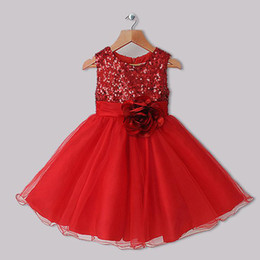 Wholesale 2015 Best Seller Girls Dresses Red Polyester Dresses With Sequins And Rose Flower Infant Princess Dresses kids Clothes GD31126