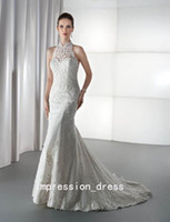 Trumpet/Mermaid Reference Images High Collar 2014 Demetrios Mermaid Wedding dresses Halter Sexy Sheer Lace High Neck backless dresses Mermaid Trumpet White Applique Bridal Gowns