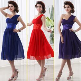 Wholesale Cheap Under Blue Red Purple Chiffon A Line Junior Bridesmaid Dresses In Stock Tea length Crinkle Sash Pleats Lace up Party Dresses