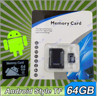 Wholesale 64GB class10 Android icon logo Micro SD Card TF Memory Card Micro SD SDHC Cards Retail Packaging T042 N002R