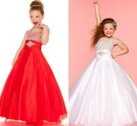 Reference Images Girl Beads 2014 Fully Beaded Halter Tull Overlay Ruched Sash Little Girl's Pageant Dresses Floor Length Formal Glitz Party Flower Girl's Ball Gowns 8