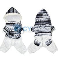 Wholesale Holiday Sale New Beautiful Warm Pet Dog Clothes White Snowflake Jumpsuit Hat