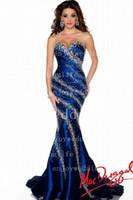 Wholesale 2016 Royal Blue Sweetheart Taffeta Mermaid Pageant Dresses Beaded Rhinestones Floor Length Evening Dresses P
