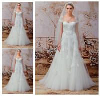 Una línea vestidos de boda del cordón del vintage de las mangas del casquillo del amor de la vendimia de Monique Lhuillier Nuevo otoño /