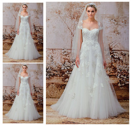 Wholesale Una línea vestidos de boda del cordón del vintage de las mangas del casquillo del amor de la vendimia de Monique Lhuillier Nuevo otoño