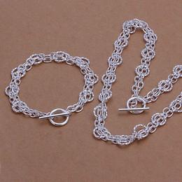 Wholesale Sterling Silver Jewelry Set Fine Fashion Charms Pendant Silver Jewelry sets Necklace Bracelet SMTS342