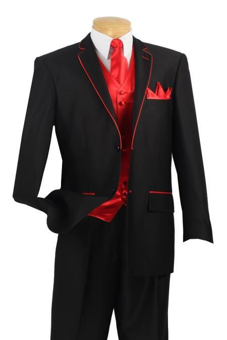 Custom Made To Measure Black Suits With Red Edge For Collar And