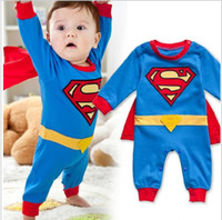 Wholesale Baby Boy Romper Superman Long Sleeve with Smock Infant Cartoon Halloween Christmas Costume Gift Children Kids Autumn shirt