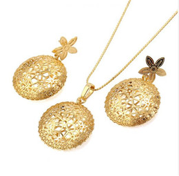 (99S)14K Light Gold Filled Pendant and Earring Set Women Hollow out Design for Christmas Gift