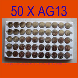 Wholesale 50PCS AG13 Button Cell Batteries AG G13 LR44 A76 N ship by air mail with track number