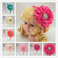 Wholesale Trail order eyelet flower with Spark Rhinestone Buttons hairband fabric flower satin covered headband hair accessory