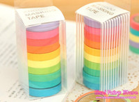 Wholesale NEW candy color Washi Tape colors set Small size Solid Washi Tape DIY Rainbow Masking Tape
