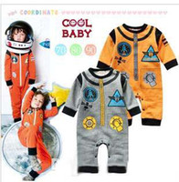 Unisex Spring / Autumn  Hot Sale New Baby One-Piece Cute baby boys rompers Modelling of the rocket long sleeve gray yellow