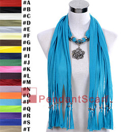 12PCS LOT Hot Jewelry Pendant Scarf Women Necklace Beads Tassel Scarf Mental Rhinestone Flower Pendant Scarf, Fedex Free Shipping, SC0025