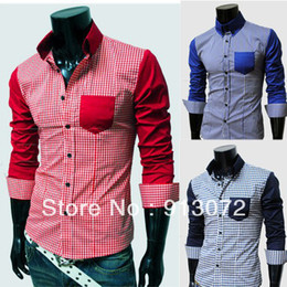 Wholesale MLS033 New Arrival Fashion Style Men s Pocket Decorated Slim Casual Long Sleeve Plaid Shirts Sizes Colors