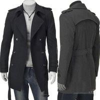 Wholesale New Fashion Slim Fit Men Casual Trench Coat Mens Long Winter Coats Mens Man Wool UK Style Outwear Overcoat M L XL XXL Black