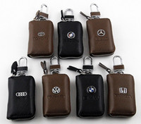 Wholesale Multi brand Men s Women s Genuine Real Leather Car Key Chain Ring Cases Holder Bag Black and Brown Colors