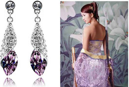 Wholesale Sea Conch Styles Austrian Crystal Element wedding Jewelry Set Pendant Necklace and Earrings