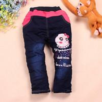 Jeans pair of jeans - Children s Girl Winter plus velvet jeans boy pants one pair of love Little Pig hot explosion models recommended